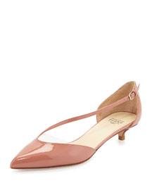 Asymmetric-Strap Kitten-Heel Pump