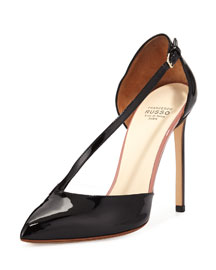 Asymmetric-Strap d'Orsay Pump, Black (Nero)