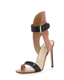 Two-Tone Ankle-Cuff Sandal, Black