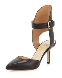 Leather Mid-Heel Ankle-Cuff Pump, Black (Nero)
