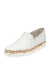 Floral Laser-Cut Leather Sneaker, White