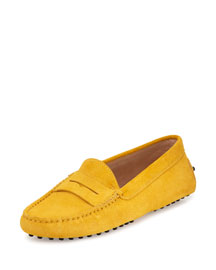 Suede Gommini Penny Loafer, Yellow