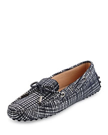 Metallic Tweed Gommini Moccasin, Navy/Silver