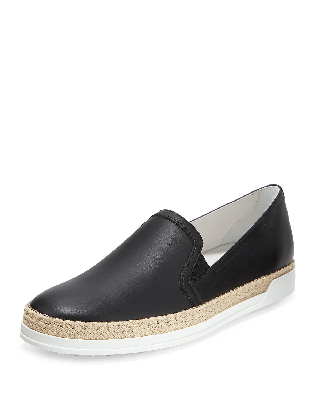 Tod's Leather Espadrille Sneaker, Black, Size: 38.0B/8.0B