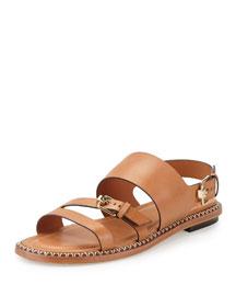 Three-Strap Flat Leather Sandal, Tan