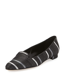 Shari Metallic Striped Loafer, Black
