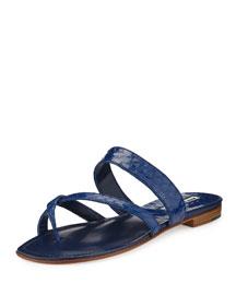 Susa Snakeskin Flat Slide Sandal, Royal Blue