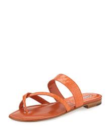 Susa Snakeskin Flat Slide Sandal, Orange