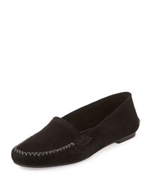 Speed Suede Moccasin Flat, Black