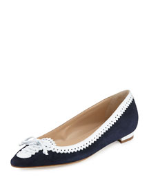 Elgin Suede/Leather Brogue Flat, Navy/White