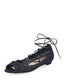 Aneska Denim Lace-Up Open-Toe Flat
