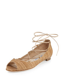 Aneska Textured Suede Lace-Up Open-Toe Flat, Beige