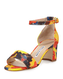 Lauratom Printed d'Orsay Sandal, Blue/Red/Yellow