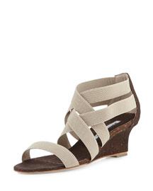 Glassa Strappy Cork Wedge Sandal, Mix Beige