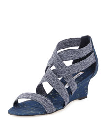 Glassa Crisscross Wedge Sandal, Denim