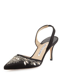 Mectar Jeweled Satin Slingback Pump, Black