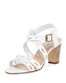 Essa Leather Cutout Sandal, White