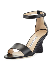 Lauratowe Ankle-Wrap Wedge Sandal, Black