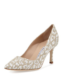 BB Leopard-Print Linen 70mm Pump