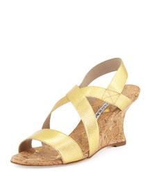 Terwe Elastic Metallic Cork Wedge Sandal, Gold
