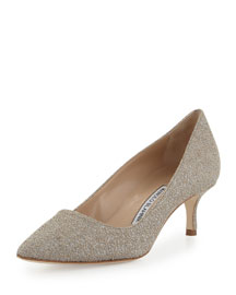 BB Metallic Jacquard 50mm Pump, Taupe/Silver