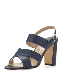 Gorham Leather Slingback Sandal, Navy