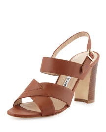Gorham Leather Slingback Sandal, Luggage