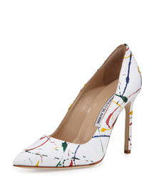 BB Splatter-Print Linen 105mm Pump, White Denim w/Pattern