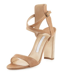 Convu Vachetta Ankle-Cuff Sandal, Beige