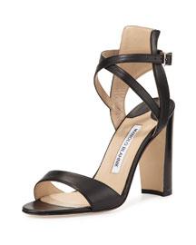 Convu Vachetta Ankle-Cuff Sandal, Black