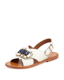 Jeweled Calf-Hair Crisscross Flat Sandal, Natural White
