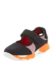 Mesh Mary Jane Sneaker, Coal Dust/Red
