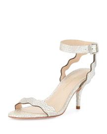 Raina Curvy Ankle-Wrap Sandal, Silver