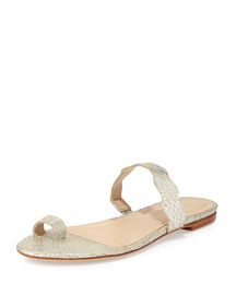 Petal Metallic Toe-Ring Flat Sandal, Silver