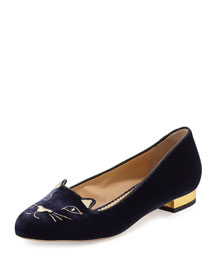Kitty Velvet Cat-Embroidered Flat, Navy/Gold