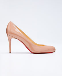 Simple Patent Red Sole Pump, Nude