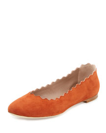 Scalloped Suede Ballerina Flat, Tan