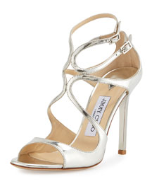 Lang Metallic Leather Sandal, Silver