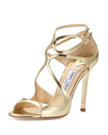 Lang Metallic Leather Sandal, Gold