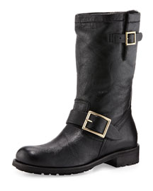 Biker Fur-Lined Lambskin Boot, Black