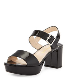Two-Band Patent Leather Sandal, Black