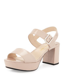 Two-Band Patent Leather Sandal, Natural