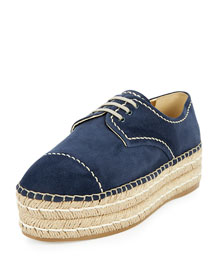 Suede Lace-Up Espadrille Oxford, Navy