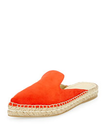 Suede Espadrille Mule Flat, Red