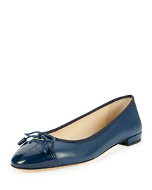 Leather Cap-Toe Ballerina Flat