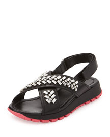Crystal-Embellished Sport Sandal, Black