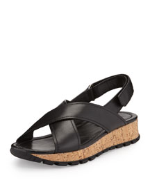 Leather Cork Platform Sandal, Black