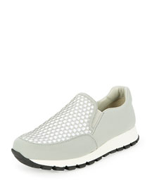 Mesh Fabric Slip-On Sneaker, Granite/White