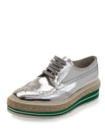 Metallic Wing-Tip Platform Loafer, Silver