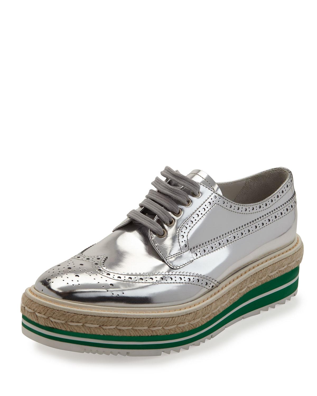 Prada Metallic Wing-Tip Platform Loafer, Silver, Men's, Size: 41.0B/11.0B